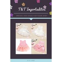 Vestido De Bebe Importado Dress Colores Rosa Y Blanco