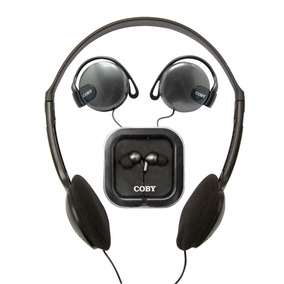 Kit Com 3 Fones Headphone Auricular + Earphone Cv324 Coby