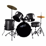 Bateria Completa Mega Drums - Gris Veteado - 5 Cuerpos