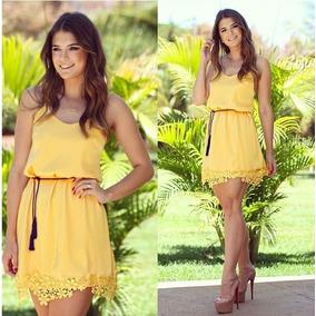 Vestido Amarelo Verão Com Renda - Frete Grátis