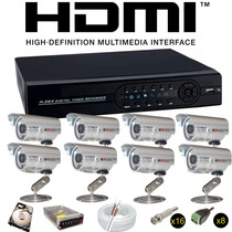 Sistema Seguraça Dvr 8 Canais+8 Câmeras Infra 36 Lds Hd500gb