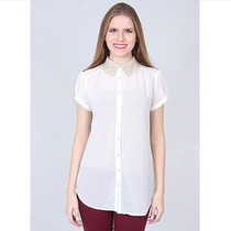Camisa Casual Gola Bordada Feminina Mooncity - Branco