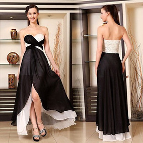 Vestido longo preto e branco renda