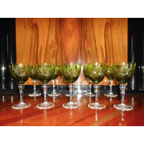 10 Antiguas Copas Verdes Cristal Vino Blanco Tallada (ángela