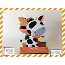 Servilletero Evento Personalizado Madera Animal Vaca Granja