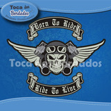 Patch Bordado Skull Biker 45cm Ideal Jaqueta Colete Car790