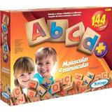 Abcd Xalingo Alfabeto Maiúsculas Minúsculas 144 Pçs Madeira