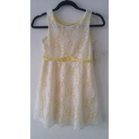 Vestido Para Niña Con Fondo Amarillo Y Encaje Talla 8 *:*