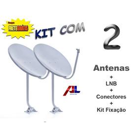Antena 2 Kit Banda Ku 60cm Completas P/ Instalação