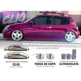 Kit Cromado Renault Clio Maçaneta / Trava Capô / Pedaleira