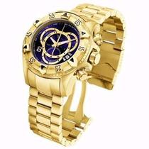 Relógio Masculino Dourado Aço Na Caixa Amarela Original