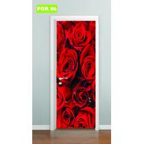 Adesivo Para Portas Flores Flor Rosas Vermelhas Cod. 86