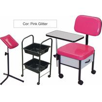 Kit Manicure: Cirandinha+ Carr. Auxiliar+ Tripe Pink Glitter