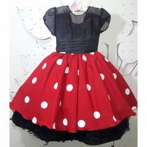 Vestido De Festa Infantil Minie- Tamanho 4 Ao 8 - 1437