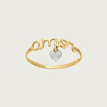 Anel Amor Em Ouro 18k(750) Com Pingente De Coração Em Zirc