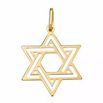Pingente De Ouro 18k Estrela De Davi Hexagrama - Viagold P02