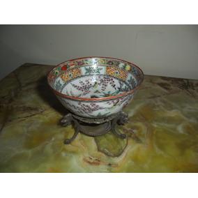 Cuenco Porcelana Oriental C/pié De Bronce.microcentro-avella