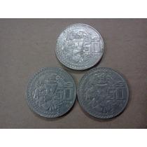 Serie 3 Monedas 50 Pesos Templo Mayor Años 82,83 Y 84