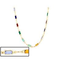 Gargantilha Fio Pedras Coloridas Retangular Rommanel 530873