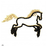 Pingente Em Ouro 18k Cavalo Pedras Negras