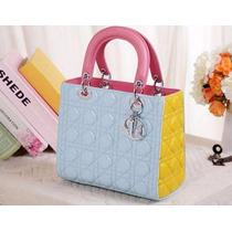 Bolsa Christian Dior Lady Di 100% Autêntica Azul Com Amarela