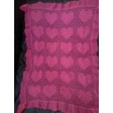 Mantilla Tejida A Crochet Diseño Corazones