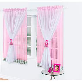 Cortina Infantil Para Menina 2,00x1,80 Quarto Rosa Boneca