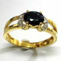 Anel Formatura Ouro 18k Pedra Safira Natural Brilhante Adm