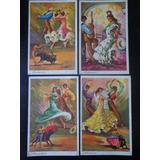 Lote De 5 Postales Españolas De Bailes Típicos