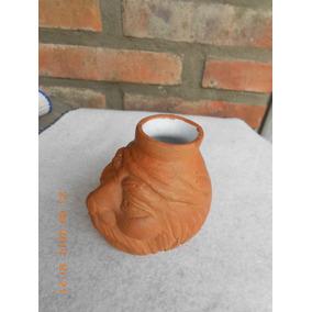 Mate De Ceramica Artesanal Cabeza De Gaucho Altura 8 Cm.