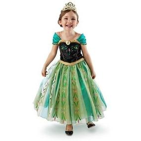 Vestido Fantasia Infantil Anna Frozen Coroação Pront Entrega