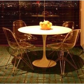 Conjunto Mesa Saarinen Redonda 90cm + 4 Cadeira Dkr Acrilica