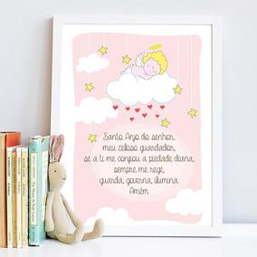 Quadro Quarto Infantil Anjinhos Oração Santo Anjo Fundo Rosa