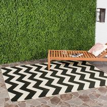 Safavieh Courtyard Black And Beige Indoor Jardin Tapete
