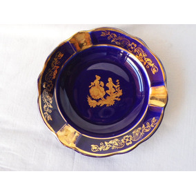 Antiguo Cenicero Porcelana Limoges Azul Cobalto F