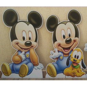 Kit Mickey Baby 2 Chão E 3 Mesa Decoração Festa Infantil Mdf