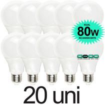 Kit 20 Lampada Bulbo 9w Led A60 Bivolt 3u 4u Econômica E27