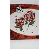 Sacola Decorada Presente Branco E Vermelho Flores 32cmx 26cm