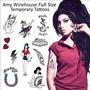 Amy Winehouse Tatuajes Temporales (de Tamaño Completo Tatua