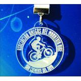 Medalla Acrilico Bici Montain Bike Carrera Con Cinta 5 Cm