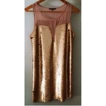 Vestido De Fiesta Pailletes Dorado