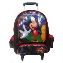 Mochila Escolar Infantil Com Rodinhas Mickey Mouse Disney