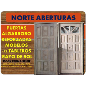 Puerta Algarrobo Reforzada Ciegas Carceleras Vidrios