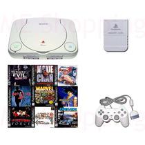 Ps1 Playstation One + Controle + 5 Jogos + Fonte + Av
