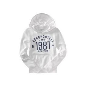 Sweter Blanco Con Capucha Talla L Aeropostale Original!!!