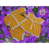 Saquito/vestido/bombacha/sandalias Bebé Tejido Ajuar Crochet