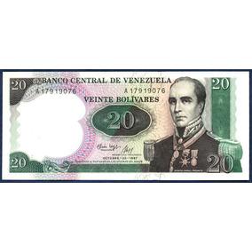 Billete 20 Bolívares Octubre 1987 Serial A8 Conmemorativo Au