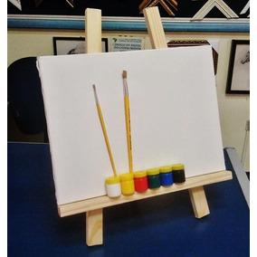 Kit De Pintura Infantil- Cavalete De Mesa+tela+piceis+tintas