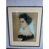 Quadro F. Roberts (retrato De Mulher) 1957 - Pastel 36x45