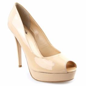 Sapato Feminino Peep Toe Meia Pata Verniz Salto Agulha Lindo